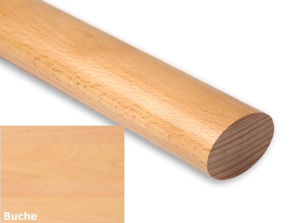 Handlauf Set Holz Eiche 45mm rund Lack 1200mm L/änge inkl 2 Edelstahlhalter