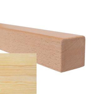 Handlauf vierkant in Kiefer mit abrundeten Ecken